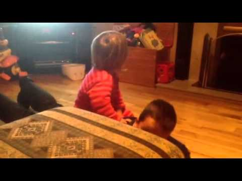 Little Sister Rides Her Brother Like A Horse