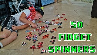 SPINNING 50 FIDGET SPINNERS AT ONE TIME (WORLD RECORD?)