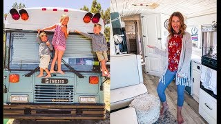 Family Of 5 Sold Everything & Moved Into A School Bus Conversion - Built In Mobile Salon Business