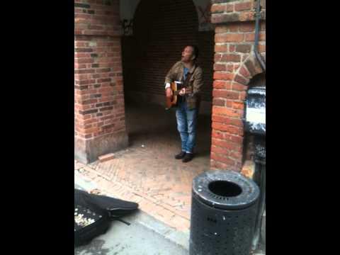 """Copenhagen street musician """"a little help from my friends"""""""