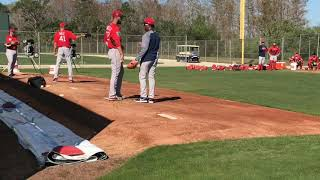 Pedro Martinez works with Boston Red Sox righty Rick Porcello