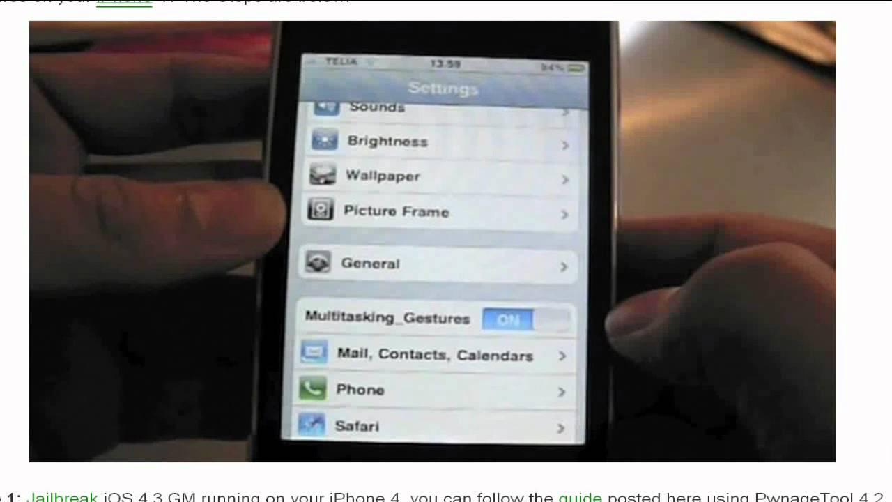 multitasking gestures iphone 4s 5.1.1