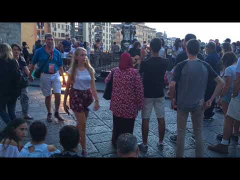 Street music in Florence Ponte Vecchio Italy