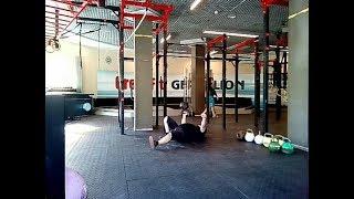 Жим гири одной рукой лёжа на полу. Гири 42 кг и 50 кг. One-hand bottom up kettlebell floor press