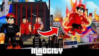 ROBLOX - MAD CITY, FROM TOP COP TO SUPERHERO IN ONE DAY!!