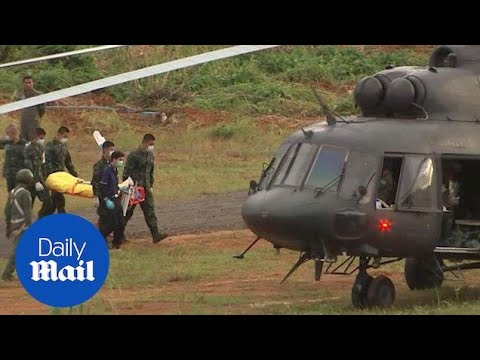 First footage of two Thai football boys air lifted to hospital - Daily Mail