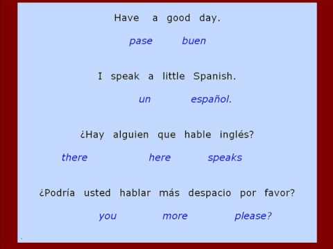 Exercises for SPANISH COURSE - Translation sentences: CONVERSATION