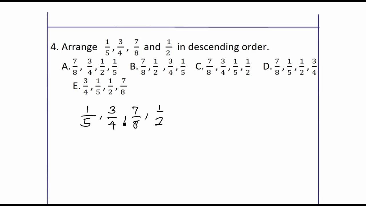 Arrange fractions in descending order - YouTube [ 720 x 1280 Pixel ]
