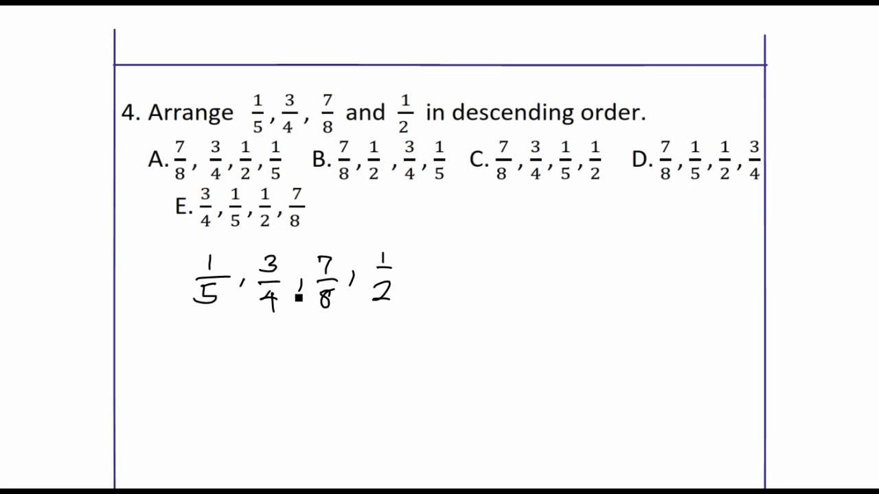 small resolution of Arrange fractions in descending order - YouTube