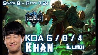 LZ Khan ILLAOI vs ORNN Top - Patch 7.24 KR Ranked