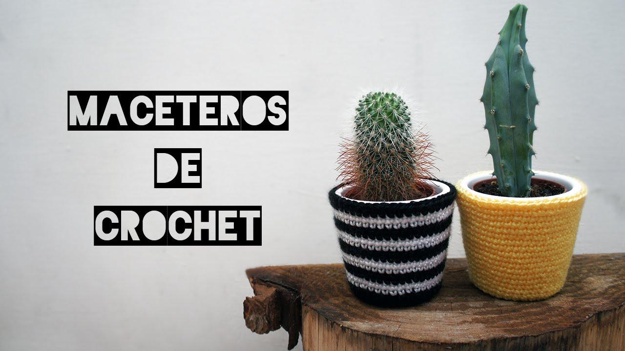 Maceteros de crochet - YouTube