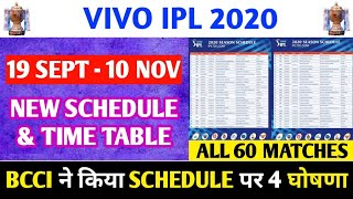 IPL 2020 NEW SCHEDULE & TIME TABLE : BCCI GIVES 4 BIG UPDATES ON IPL 2020 SCHEDULE TIME TABLE