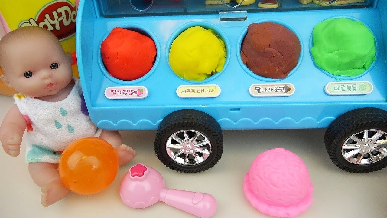 Baby Doll and play doh IceCream car toys - YouTube