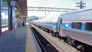 Amtrak Test Xtra @ Stamford with Viewliner Inspection Car!!