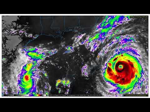 Hurricanes Irma & Katia - GOES16 Band13 2km IR Gulf of Mexico (4-12 September 2017)