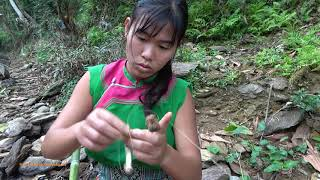 Smart Girl's Skills Fishing Catch Big Red Carp At The River - Cooking Red Fish With Eggs