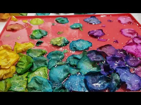 Resin Wave Sculpture with live flowers