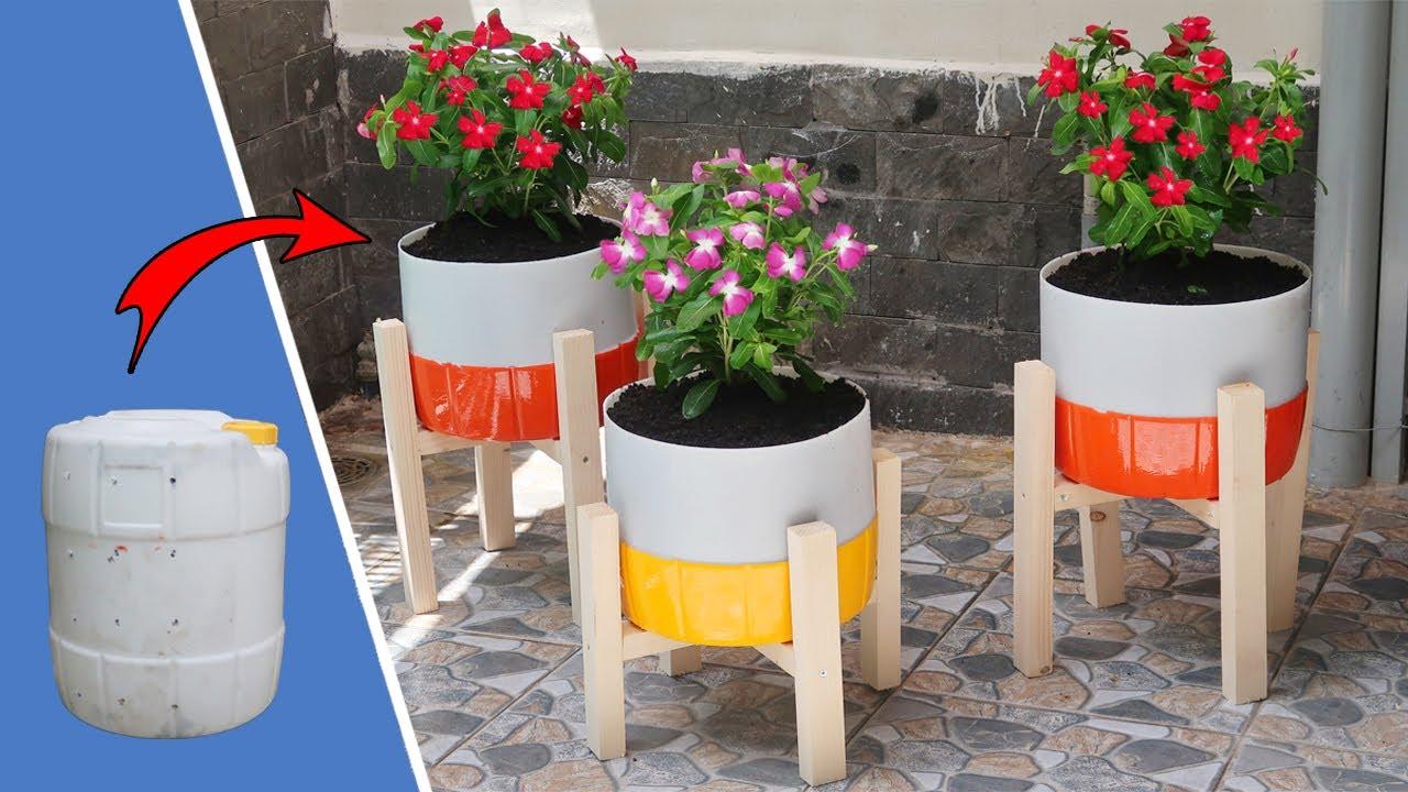 Brilliant ideas, Recycling Plastic Barrels into beautiful flower Pots