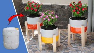 Reciclagem de Barris de Plástico em Vasos de Flores Bonitas