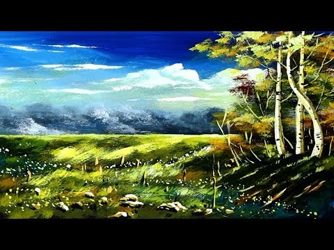 Beautiful Landscape tree Scenery Painting | Acrylic Painting Tutorial