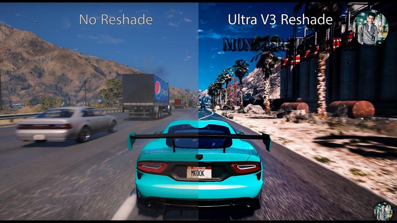 GTA 5 REDUX ||V3 - RESHADE|| VS REDUX ||NO - RESHADE|| - ||Side By Side  Graphics Comparison 2017!!