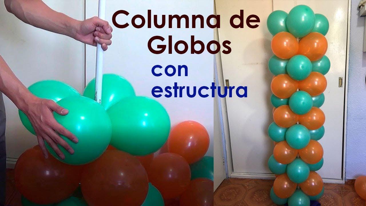 columna de globos con estructura (dos colores) - YouTube