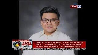 UST law student, patay matapos umanong dumalo sa 'welcome ceremony' ng isang fraternity