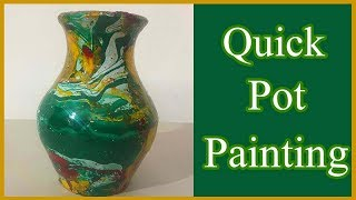 Pot Painting-Pot Painting using Enamel Colors - How to Paint and Decorate a Pot - Pot Painting