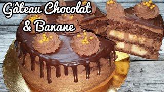 Gâteau d'anniversaire au chocolat et banane