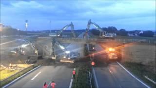 Brückenabbruch Abriss mit Bagger über die Autobahn Max Wild 2013 Bridge Demolition Teil 2/3