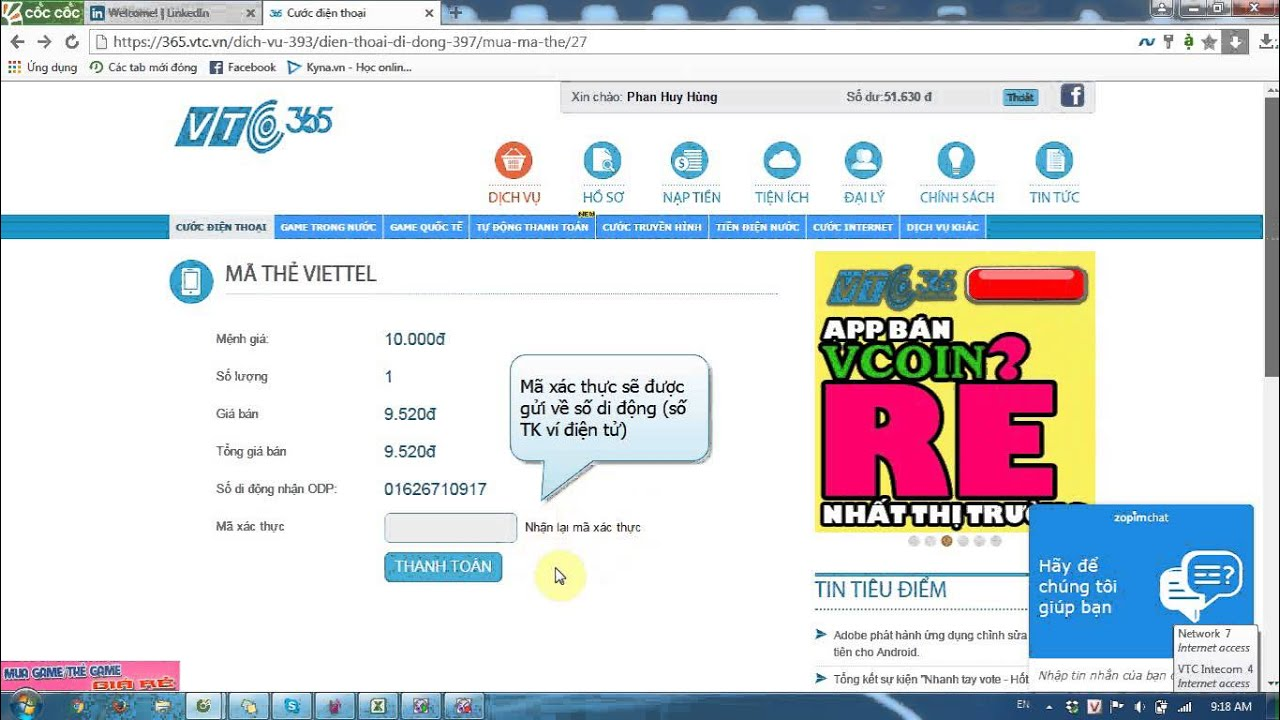 [VTC Pay] Hướng dẫn mua thẻ cào trên 365.vtc.vn