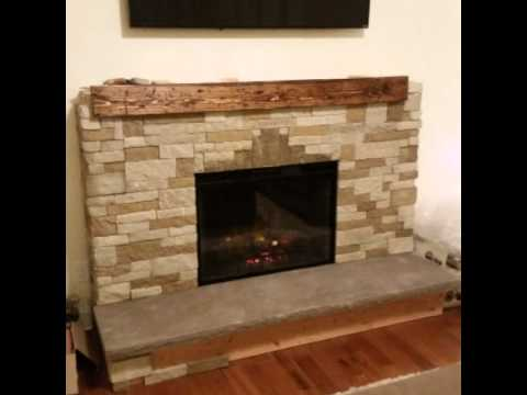 Diy air stone fireplace with electric insert - YouTube