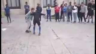 girl plays soccer jeune fille joue au foot qui dribble un jeune .a ne pas raté funny.