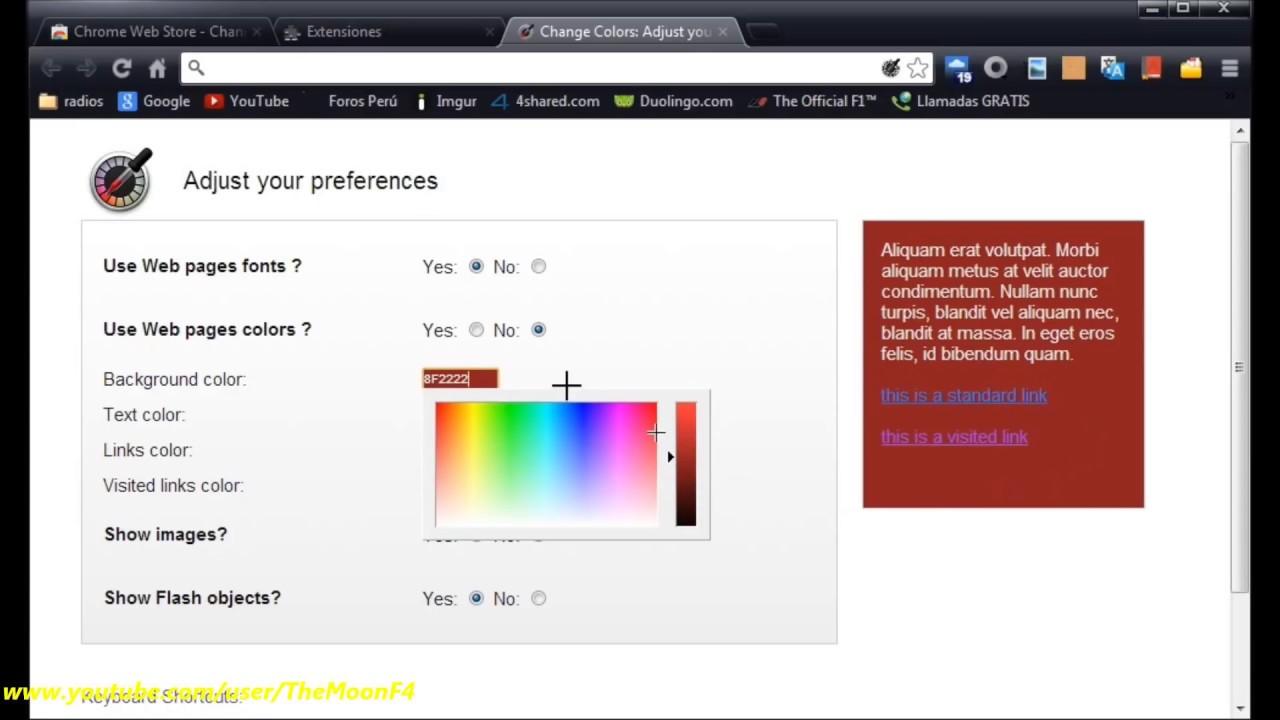 Cómo usar Change Colors (en Chrome) para cambiar el color a sitios ...