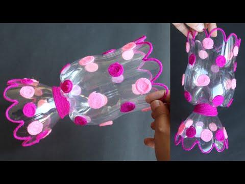 Plastic Bottle Flower Vase Craft - Home Decor Ideas - Plastic Bottle Craft Idea