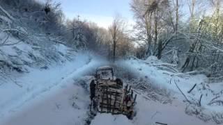 Zrywka drewna Bieszczady - MTZ zimy się nie boi :)