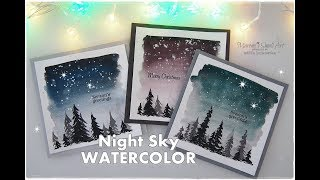 Night Sky Watercolor Winter Christmas Cards for Beginners ♡ ...