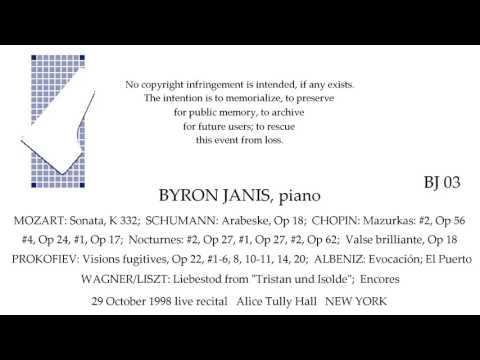 BYRON JANIS Recital 29 October 1998 Alice Tully Hall NEW YORK