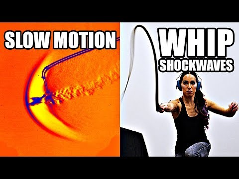 How does a whip break the sound barrier? (Slow Motion Shockw