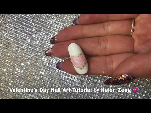 Cute & Simple Valentines Day 3D Nail Art - YouTube