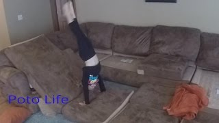 Living Room Gymnastics with Brea. Mom is gone for the weekend.