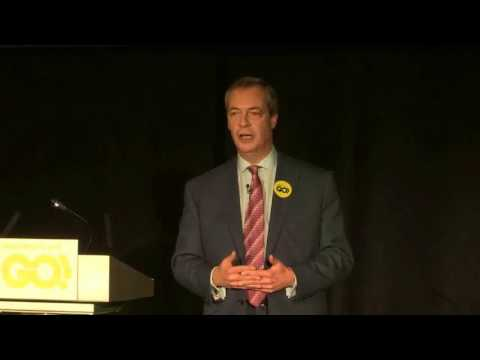 Nigel Farage MEP at the Grassroots Out launch in Kettering