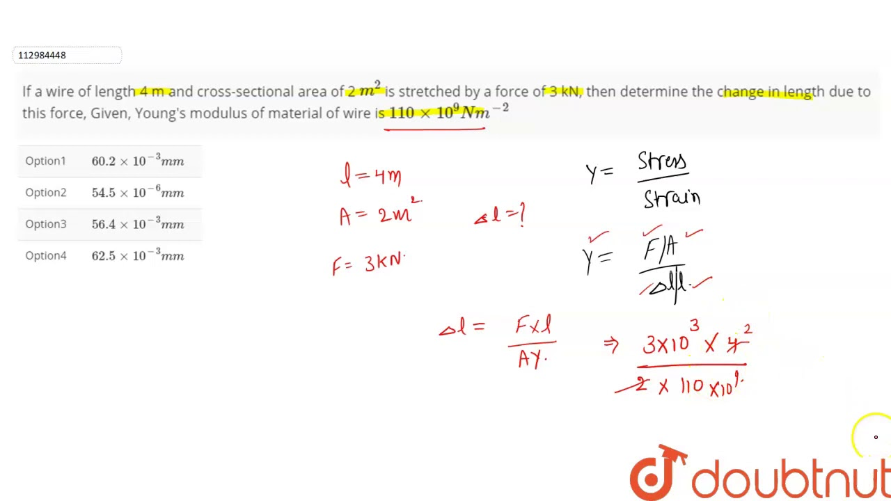 If a wire of length 4 m and cross-sectional area of 2 `m ...