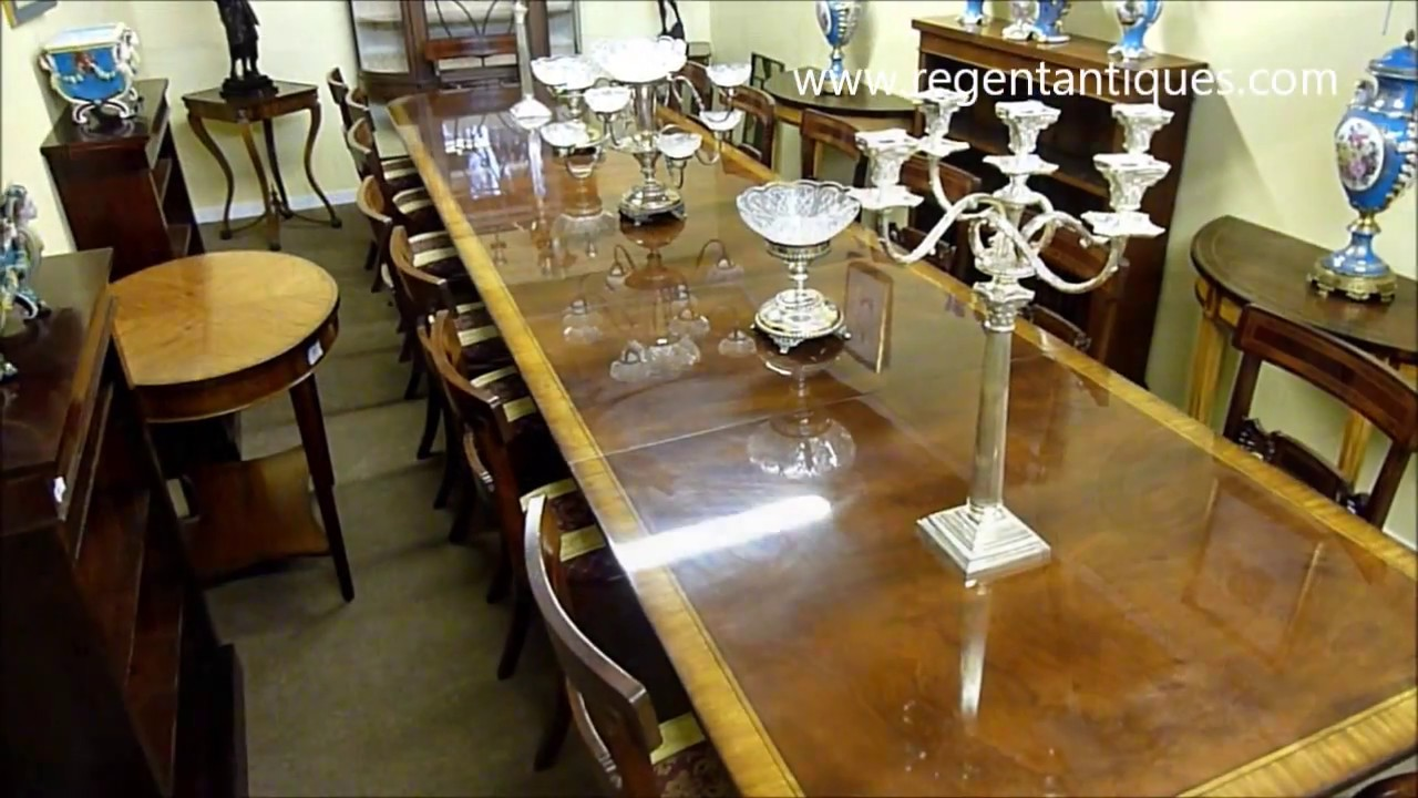 16ft Regency Flame Mahogany Dining Table U0026 16 Chairs (03131a)   YouTube