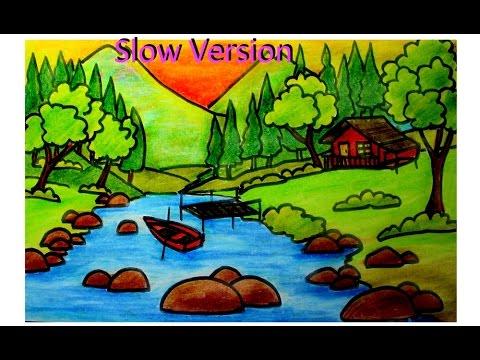 painting idea for kids-oil pastel landscape (slow version)