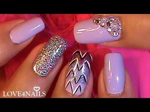 Purple nail art designs acrylic nail designs - Decoracion Para U 241 As Morado Tutorial Youtube