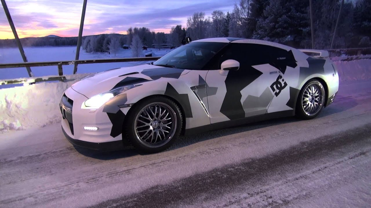winter camo nissn gt r on nice location in northern sweden. Black Bedroom Furniture Sets. Home Design Ideas