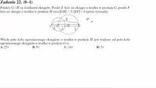 Matura operon 2016 zadanie 22 Punkty G i H są środkami okręgów. Punkt E leży na okręgu o środku w