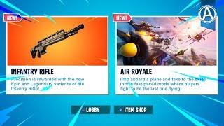 "NEW Fortnite UPDATE! Legendary ""INFANTRY RIFLE"" & ""AIR ROYALE"" LTM Gameplay (Fortnite LIVE)"