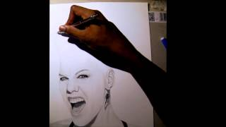How to draw P!NK - Time lapse with Gopro HD Hero 3 Black Edition